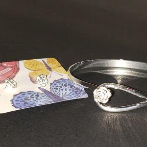 Jewelry - Silver rose set .925, earrings and bracelet